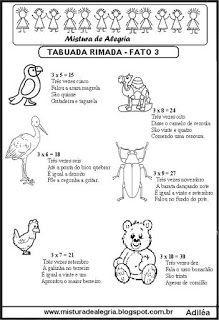 Tabuada rimada e ilustrada fato 3