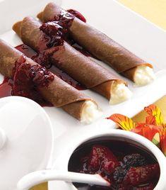"""""""Puros de chocolate con cottage y salsa de frutos rojos"""""""