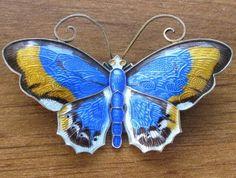 Sterling Silver David Andersen Guilloche Enamel Butterfly Brooch Norway