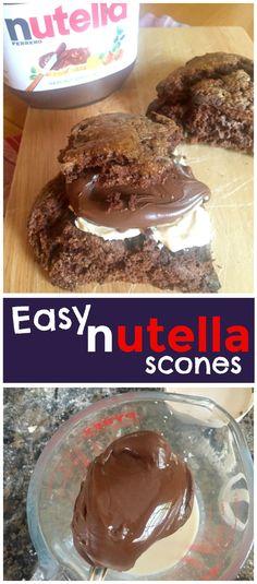Rich chocolate hazlenut Nutella flavour - in a scone! These Easy Nutella Scones are the perfect treat for the Nutella addict in your life... Easy Nutella Scones recipe