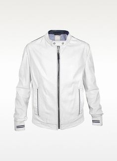 $159.99 handmade men white biker Leather jacket with long double ...