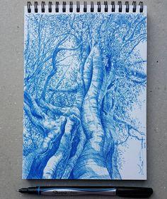 Lidia Barragán. #sketch #tree #dibujo #arbol #sharpie #pen #blue #treedrawing
