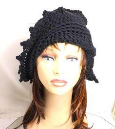 Floppy Sun Hat Black Crochet Hat Womens Hat Trendy Summer Hat Crochet Beanie Hat Black Hat LAUREN Womens Crochet Hat  by strawberrycouture by #strawberrycouture on #Etsy