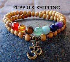Seven Chakras, Om wrap, Chakra bracelet, Balancing bracelet, Reiki Charged, bracelet wrap, 7 chakras, wrap mala, wrist mala, Yoga bracelet