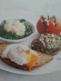 Donna Hay- Small cuts into top of tomato, stuff with thyme & season