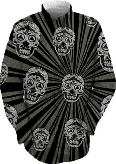 Black Grunge skulls on sunburst from Print All Over Me - a great shirt for wearing to work or out with friends featuring a pattern of grunge style sugar skulls on a sunburst background in black and gray. Available in other colors.