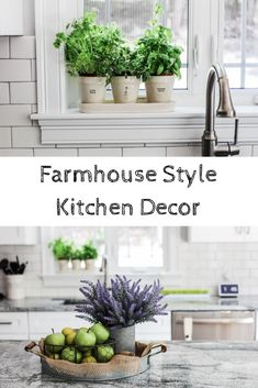 Creating a Farmhouse Style Kitchen is super easy and fun! Decorating with clay pottery, herb pots, Rae Dunn, Faux flowers, faux fruits and more! | Creating a bright, white kitchen cabinet, farmhouse style kitchen, Joanna Gaines Style Kitchen | Kitchen Decor Made Easy! Burlap decor and design |