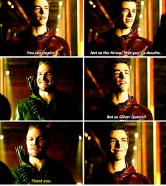 """Arrow vs Flash crossover """"Not as the Arrow, that guy's a douche."""""""