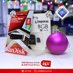 🎄Tech the Halls - Christmas Sale🎁 Get a 8GB Memory Card or a 8GB Flash Drive for as low as $10.99 each! #FultecSystems #TechtheHalls #ChristamasSale #Kingstone #Sandisk #Memorycard #FlashDrive