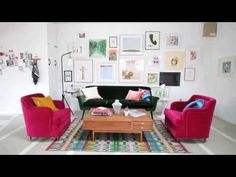 Creating a color filled room against white walls with Emily Henderson ▶ Oh Joy's Studio: Seating Area - YouTube