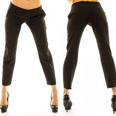 Женские укороченные брюки прямого кроя по бокам карманы черный