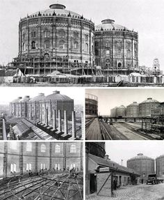 Giant Industrial Gasworks Turned into Domed Indoor Town Unusual Buildings, Old Buildings, Modern Buildings, Happy City, Historical Architecture, Future City, Water Crafts, Historical Photos, Old World