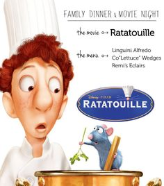Ratatouille family dinner & movie night menu - such a cute way to have family night, love the themed meal dinner night Family Movie Night Menu: Ratatouille - Modern Parents Messy Kids Disney Pixar, Disney Food, Disney Movies, Disney Recipes, Disney Movie Nights, Kid Movies, Family Movies, Family Family, Family Games