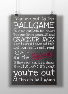Washington Nationals Take Me Out to the by BigLeaguePrints on Etsy