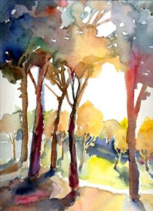 'Autumn Forest watercolor by Liz Macklin'