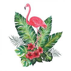 Watercolor flamingo decorative design Free Vector