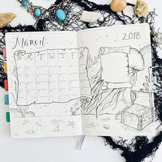 Bullet journal monthly calendar, bullet journal grid calendar, pirate drawing, bullet journal pirate theme. | @mybulletlove
