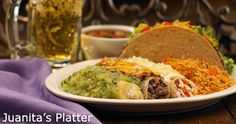 Juanita's Platter™  Create your own custom combination  Two enchiladas (chicken, beef or cheese & onion)  One crispy taco (chicken or beef)  One tamale (pork or chicken)