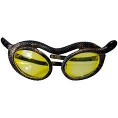 Preowned 1950s Paulette Guinet Attribution Snake Sunglasses ($4,500) ❤ liked on Polyvore featuring accessories, eyewear, sunglasses, black, vintage cat eye glasses, vintage glasses, vintage cat eye sunglasses, cat-eye glasses and gold lens sunglasses