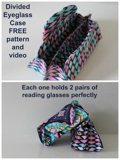 for him surprises - FREE sewing pattern and a full video tutorial for how to sew a cloth case for your eyeglasses. Bag Patterns To Sew, Sewing Patterns Free, Free Sewing, Free Pattern, Sewing Hacks, Sewing Tutorials, Sewing Crafts, Sewing Projects, Video Tutorials