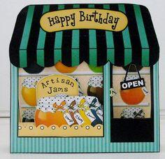 3D Shoppe Window Pop Up Card Kit- Artisan Jams & Preserves Shop - Photo by Pam Stubley