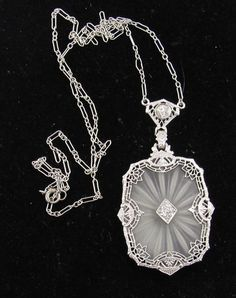 Art Deco Camphor Glass Necklace 40cts Diamonds 14k White Gold Filigree Antique | eBay