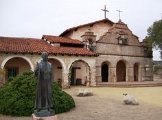 California Mission Trail, California  Mission San Antonio de Padua, chapel entrance and statue of Father Junipero Serra in remote Monterey County, CA (sanantonio004xy) by mlhradio, via Flickr