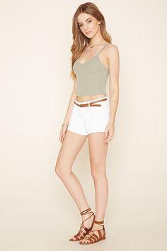 PEDIDOS SOLO POR #ENCARGO Código: F-40 Belted Cuffed Shorts Color: White Talla: S-M-L Precio: ₡17.500 ($31,53)  Whatsapp ☎8963-3317, escribir al inbox o maya.boutique@hotmail.com  Envíos a todo el país. #MayaBoutiqueCR ❤