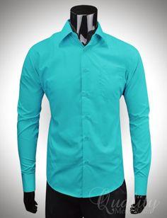 Teal Mens Dress Shirt; Grooms color ideas eBay