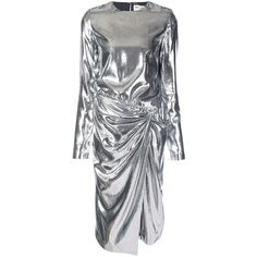 Saint Laurent Silver Gathered Waist Dress (£2,875) ❤ liked on Polyvore featuring dresses, silver, yves saint laurent dress, ruched waist dress, silver dresses, metallic dress and yves saint laurent