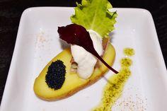 Smoked mackerel almond potatoe horsradish cream and black caviar
