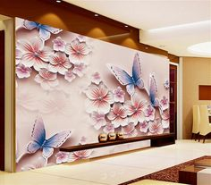 21.60$  Buy now - http://ali4dh.shopchina.info/go.php?t=32628179058 - Large custom study bedroom living room sofa TV background wall mural 3D wallpaper 3D stereoscopic flower butterfly  #magazineonlinebeautiful