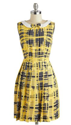 Todays wrap party with the cast and crew calls for a camera-ready look, and this plaid dress by Bea Dot, found exclusively at ModCloth, certainly makes the cut! Plus Size Dresses, Cute Dresses, Le Closet, Retro Vintage Dresses, Mod Dress, Fashion Gallery, Plaid Dress, Yellow Dress, Fashion Dresses