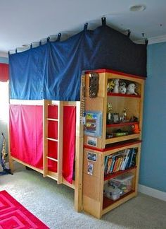 Turn a bunk bed into a fort. Mount curtains, tent top, lanterns
