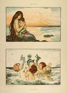 1904 Lithograph Art Nouveau Mermaid and Merchildren Sea