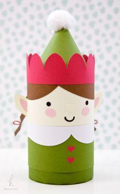 DIY Die Cut Elfie the Elf Holiday Gift Box Paper Craft
