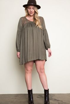 Plus Size Lace Peasant Dress in Olive