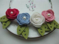 White Rose Clip- Felt Flower Clip- Baby Hair Clip. $7.00, via Etsy.