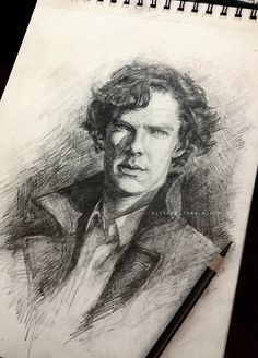 "A straightforward sketch of Sherlock. Pencil on 9x12"" Canson Drawing paper. If you'd like to purchase the original ($150), send ..."