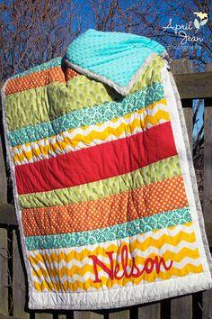 Custom Wedding Quilt / Housewarming Gift - Stripe Applique Family Quilt
