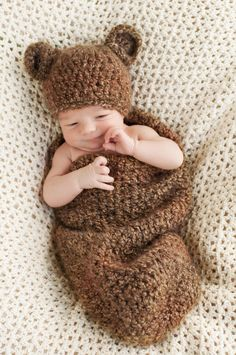 Baby Bear Hat and Cocoon Set/ Baby photo prop in brown, tan or creme textured yarn