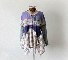 Bohemian Sweater Purple Shabby Top Layering by BrokenGhostClothing