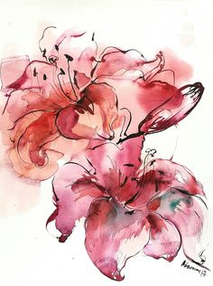 Flowers Wall art - Original Watercolor Painting of a Pink Lily. Floral wall decor. Unique present for wedding. Watercolour flower picture.