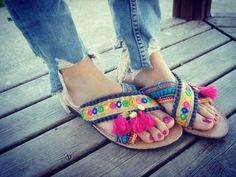Greek Leather Sandals Boho Sandals Handmade Sandals Pom by RiRiPoM