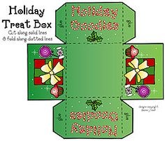 This whimsical Holiday Treat Box FREEBIE is a fun way to share a little smile with kids, co-workers or friends this season. Just print in our fun festive colors or in black & white, then cut, fold & secure with a little glue... and you're ready to fill it with treats! Enjoy! (available through today only! 12/17/14)