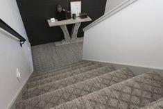 Gray diamond patterned carpet on staircase. Patterned Carpet, Staircases, Sons, This Is Us, Tile, Stairs, Flooring, Gray, Diamond