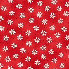 """Henry Glass - 9569 Red From Kym Bowles' Strawberry Bears fabric collection by Henry Glass, this print features white daisies with yellow centers on a red ground. For reference, the daisies are approximately 1/4"""" in diameter. 100% cotton 44/45"""" wide."""