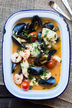 "Brudet is a fish stew from Croatia, similar to an Italian Brodetto or Greek Bourdeto. All three are based on the Venetian word brodeto (""broth""). The recipes for each dish are similar; …"