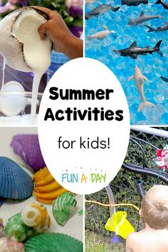 Check out these summer activities for preschoolers and other kids to try when school's out. There are art activities and crafts, math activities, science experiments, and sensory ideas too! Preschool Summer Camp, Memorial Day Activities, Summer Preschool Activities, Early Learning Activities, Preschool Lesson Plans, Preschool Science, Sensory Activities, Toddler Activities, Teaching Kindergarten
