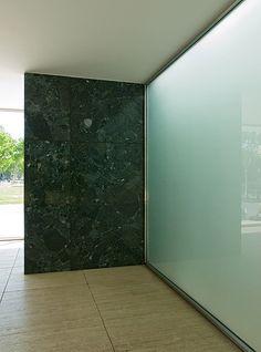 Mies van der Rohe Barcelona Pavilion -  detail of skylit sandblasted glass lightwell